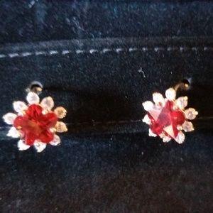 Red CZ Gem Brazilian Gold Filled Post Earrings
